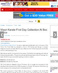 Maan Karate First Day Collection At Box Office